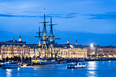 France, Gironde, Bordeaux, area listed as World Heritage by UNESCO, Hermione at the honor pontoon at the docks