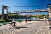 France, Rhone, Lyon, historical site listed as World Heritage by UNESCO, the footbridge of the College over the Rhone, quay general Sarrail