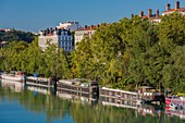 France, Rhone, Lyon, the banks of the Rhone, the quay of Serbie and its barges house
