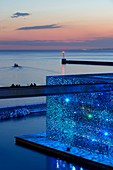 France, Bouches du Rhone, Marseille, Euromediterranean area, MuCEM Museum of Civilization in Europe and the Mediterranean R. Ricciotti and R. Carta architects, lighting Yann Kersale