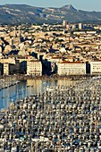 France, Bouches du Rhone, Marseille, Euromediterranean area, Vieux Port, crowd on the dock of the Fraternite during the national day, Massif du Garlaban in the background