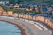 France, Somme, Mers-les-Bains, searesort on the shores of the Channel, the beach and its 300 beach cabins
