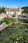 France, Vaucluse, Lourmarin, labeled Les Plus Beaux Villages de France (the Most Beautiful Villages of France), castle 15th and 16th centuries, classified as Historic Monument, pond at the foot of the castle