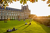 France, Paris, area listed as World Heritage by UNESCO, the gardens of the Carrousel and the Louvre in the background