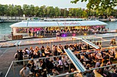 France, Paris, area listed as World Heritage by UNESCO, the new Berges the Quai d'Orsay with Rosa Bonheur houseboat on the Seine