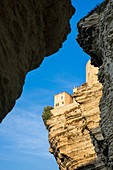 France, Corse-du-Sud, Bonifacio, the old town or Upper Town perched on limestone cliffs more than 60 meters high