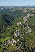France, Aveyron, Najac, labelled Les Plus Beaux Villages de France (The Most beautiful Villages of France) (aerial view)
