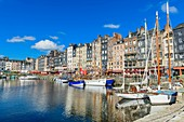 France, Calvados, Pays d'Auge, Honfleur and its picturesque harbour, Old Basin and the Quai Sainte Catherine