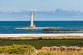 France, Manche, Cotentin, Cap de la Hague, Auderville, Hague lighthouse or Goury lighthouse on the rock called Gros du Raz