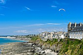 France, Manche, Cotentin, Granville, the Upper Town built on a rocky headland on the far eastern point of the Mont Saint Michel Bay, paraglider