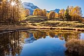 France, Savoie, Haute Tarentaise, Sainte-Foy-Tarentaise, Le Monal (1874m) dominé par le Mont Pourri (3779m) et les glaciers sud et nord de la Gurraz du Parc National de la Vanoise