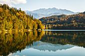 Der Wilde Kaiser spiegelt sich im Hechtsee, umrahmt von herbstlichen Wäldern, Kufstein, Tirol, Österreich