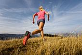 Läuferin auf natürlichem Weg im hohen Gras bei strahlend blauem Himmel, Bärenkopf, Achensee, Tirol, Österreich