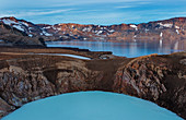 The turquoise crater lake Víti and Lake Öskjuvatn during the blue hour, Askja, Iceland