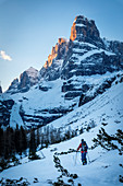Ski tourers ascending to the Cima Tosa north channel, Brenta Group, Italy