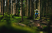 Mountainbiker springt bei Regen und mystischer Stimmung im Wald über eine Wurzel zwischen zwei Bäumen hindurch, Kitzbüheler Alpen, Tirol, Österreich