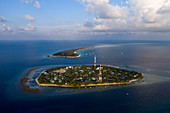 Native island of Rasdhoo and Kuramathi tourist island, Rasdhoo Atoll, Indian Ocean, Maldives