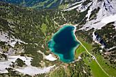 Aerial view Seebensee, Ehrwald, Tyrol, Austria