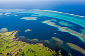 Aerial view of the south coast of Tahiti, Tahiti, French Polynesia