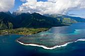 Aerial view of Teahupoo, Tahiti, French Polynesia