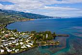 Luftaufnahme von Point Venus, Tahiti, Französisch-Polynesien