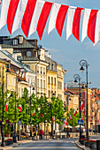 Krakowskie Przedmiescie street, early morning, may, flags of Poland, Constitution Day, Old Town, Warsaw, Mazovia region, Poland, Europe