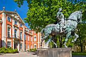 Palace of Czapski and Raczynski family, Academy of Art, Krakowskie Przedmiescie 5 street, monument of Bartolomeo Colleoni, Warsaw, Mazovia region, Poland, Europe