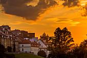 Old town view from the Slasko–Dabrowski bridge, sunset, Warsaw, Mazovia region, Poland, Europe