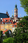 Old town view from the bank of the river Vistula. Tower of the church of the Jesuits, the shrine of Our Lady of the loving, Warsaw, Mazovia region, Poland, Europe