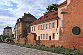 Medieval fortified city walls located along Podwale Street, old town, Warsaw, Mazovia region, Poland, Europe