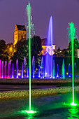 Gothic church of the Visitation of the Blessed Virgin Mary, one of the oldest buildings in Warsaw, Multimedia Fountain Park, old town, Warsaw, Mazovia region, Poland, Europe