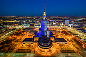 """View towards east on city center of Warsaw from 49th floor of """"Zlota 44"""" skyscraper. In the middle: Palace of Culture and Science, main building of soviet era, Warsaw,  Mazovia region, Poland, Europe"""