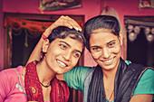 2017, Radhakund, Vrindavan, Uttar Pradesh, India, Sisters Arati and Radharani