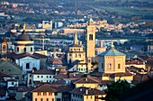 Evening view of the upper town with its towers and churches, Bergamo, Lombardy, Italy