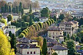View from the promenade on the upper town to the lower town, Bergamo, Lombardy, Italy