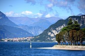 View from the Lecco waterfront promenade to the north, east side, Lake Como, Lombardy, Italy