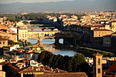 View from Piazza Michelangelo of Florence and its Arno river, Toscana, Italy