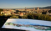 View with colorful map from Piazza Michelangelo on Florence, Toscana, Italy