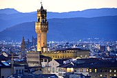 Evening view from Piazza Michelangelo of the Palazzo Vecchio and Florence, Toscana, Italy
