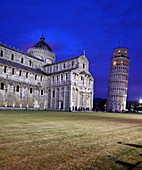 View of the Duomo and Leaning Tower in the evening light, Pisa, Toscana, Italy