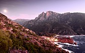 Porto with part of the Calanche on the Gulf of Porto in the evening, western Corsica, France