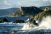 wild waves on the coast west of Ajaccio at Pointe Parata, western Corsica, France