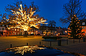 Christmas lights at the market on the island town of Werder / Havel, Havelland, Brandenburg, Germany