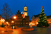 Market with the town hall in Wittstock / Dosse, Ostprignitz-Ruppin, Brandenburg, Germany