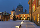 Stadtschloss mit dem Fortunaportal, Landtag Brandenburg, Nikolaikirche, Alter Markt, Potsdam, Land Brandenburg, Deutschland