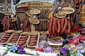 Display in the shop window of Erich Trumpp Rothenburg ob der Tauber, Middle Franconia, Bavaria, Germany