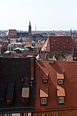 View over the roofs of Nuremberg, behind the Lorenzkirche, Middle Franconia, Bavaria, Germany