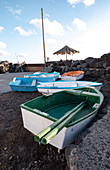 View of small colorful fishing boats in the fishing village of la Bombilla, La Palma, Canary Islands, Spain, Europe