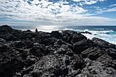 Sitzende Frau an einer Klippe bei Fuencaliente, Blick auf den Atlantik, La Palma, Kanarische Inseln, Spanien, Europa