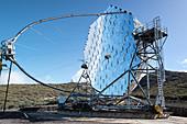 View of the MAGIC mirror telescope, Roque de los Muchachos, Caldera de Taburiente, La Palma, Canary Islands, Spain, Europe